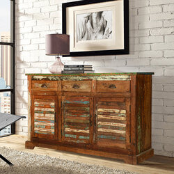 Austin Shutter Door 3 Drawer Rustic Reclaimed Wood Sideboard