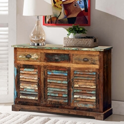 Appalachian Summer Shutter Door Reclaimed Wood 3 Drawer Sideboard
