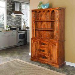 Pennsylvania Dutch 3 Open Shelf Rustic Solid Wood Bookcase Hutch