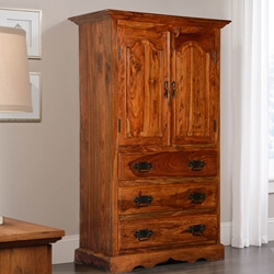 Pomeroy Rustic Solid Wood Armoire With Drawers And Shelves