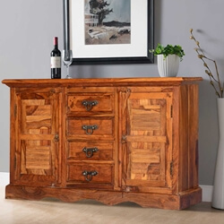 Appalachian Solid Wood Handcrafted 4 Drawer Rustic Sideboard Cabinet