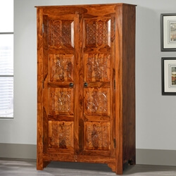 Noma Solid Wood Artisan Standing Double Door Armoire