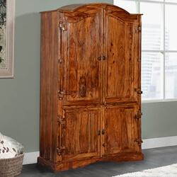 Modern Gothic Rustic Solid Wood Large Wardrobe Armoire With Shelves