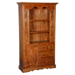 French Provincial Solid Wood 3 Open Shelf Bookcase With Door & Drawers