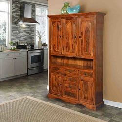 "Pennsylvania Dutch Solid Wood 70"" Breakfront Freestanding Cabinet"