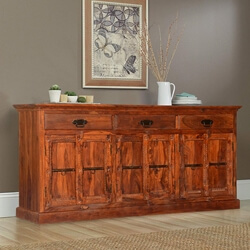 Lithopolis Classic Solid Wood Hand Carved 3 Drawer Sideboard Cabinet