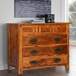 Santa Fe Traditional Solid Wood Small Dresser Chest With 3 Drawers