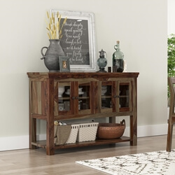 Modern Sierra Rustic Solid Wood Glass Door Buffet Table