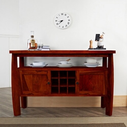 Contemporary Solid Wood Standing Wine Bar Rustic Console Table