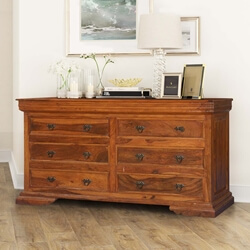 Dutch Colonial Rustic Solid Wood 6 Drawer Double Dresser