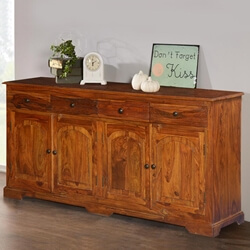 Early American Solid Wood 4 Drawer Large Sideboard