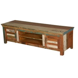 Tazewell Rustic Reclaimed Wood Open Shelf Media TV Stand