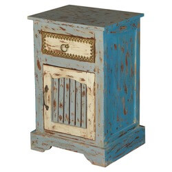 Sweet Blue Dreams Mango Wood Nightstand End Table Cabinet