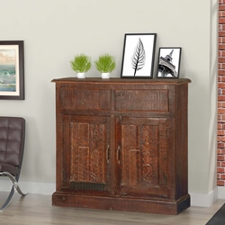 Tapestry Reclaimed Wood Hand Carved 2 Drawer Rustic Sideboard Cabinet