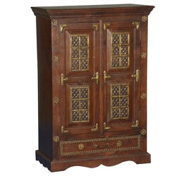 Pennsylvania Iron & Brass Mango Wood Freestanding Cabinet