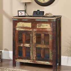 Philo Rustic Reclaimed Wood Glass Pane Door 2 Drawer Small Sideboard