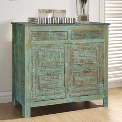 Turquoise Rustic Mango & Reclaimed Wood 2 Drawer Buffet Cabinet