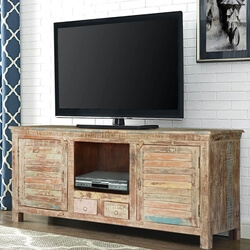 Frosted Shutter Doors Reclaimed Wood TV Console Media Cabinet