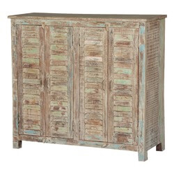 Frosted Rustic Reclaimed Wood Shutter Door Buffet Cabinet