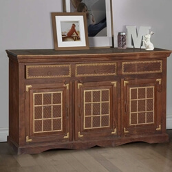 Sheridan Simple Rustic Solid Wood 3 Drawer Large Sideboard Cabinet