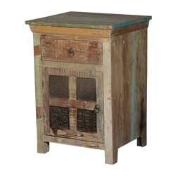 Maquon Rustic Wooden Windows Reclaimed Wood 1 Drawer Nightstand
