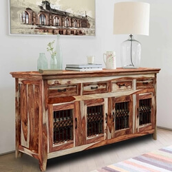 Peoria Modern Rustic Solid Wood Large Buffet Cabinet