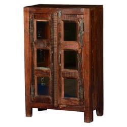 Frontier Rustic Reclaimed Wood Double Door Display Cabinet
