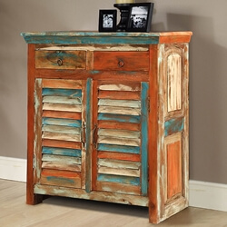 Bartons Handcrafted 2 Drawer Rustic Reclaimed Wood Buffet Cabinet