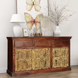 Golden Gothic Mango Reclaimed Wood 3 Drawer Large Sideboard Cabinet