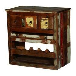 Frontier Rustic Reclaimed Wood Wine Bar Rack