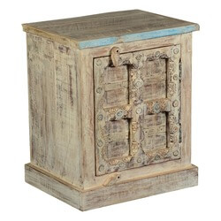 Gothic Winter White Handcrafted Reclaimed Wood End Table