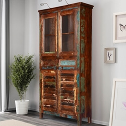 Bernice Rustic Reclaimed Wood Freestanding Display Cabinet Armoire