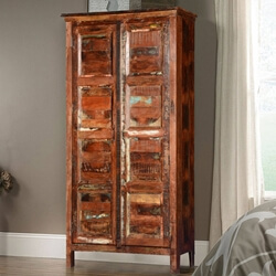 Byron Rustic Solid Reclaimed Wood Armoire Storage Cabinet