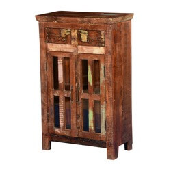 Oviedo Rustic Reclaimed Wood Glass Door 2 Drawer Storage Cabinet