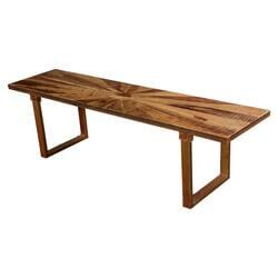Colborne Contemporary Sunburst Reclaimed Wood Parquet Bench