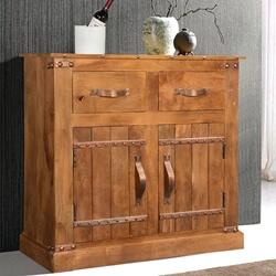 Modern Farmhouse Solid Mango Wood 2 Drawer Rustic Buffet Cabinet