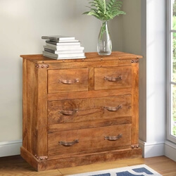 Modern Farmhouse Solid Mango Wood 4 Drawer Rustic Dresser