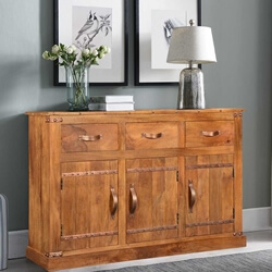 Modern Farmhouse Solid Wood 3 Drawer Rustic Sideboard Cabinet