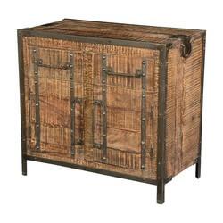 Dane Mango Wood Freestanding 2 Drawer Industrial Storage Cabinet