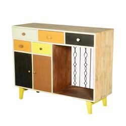 60's Retro Earth Tones Mango Wood Freestanding Storage Cabinet