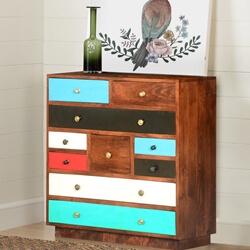 60's Retro Mango Wood 10 Drawer Vertical Dresser Chest