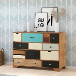 60's Retro Rainbow Mango Wood 14 Drawer Dresser