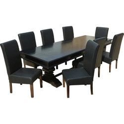 "Executive Elegance Wood & Leather 94"" Trestle Dining Table & 8 Chairs"