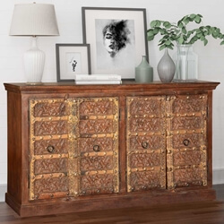 Cachan Flower in Star Reclaimed Wood 4 Door Sideboard Cabinet