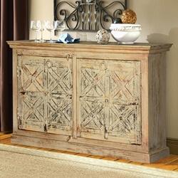 Winter White Rustic Reclaimed Wood X's Design Shutter Door Sideboard