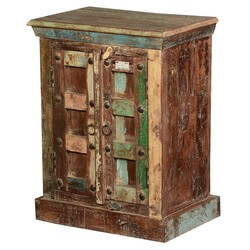 Rustic Color Patches Reclaimed Wood Night Stand End Table Cabinet