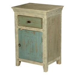 Zara Distressed Mango Wood 1 Drawer Nightstand Cabinet