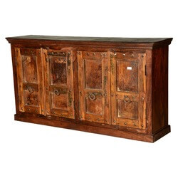 Gothic Traditions Rustic Reclaimed Wood Extra Long Sideboard Cabinet