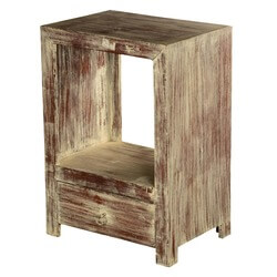 Tennessee Distressed Reclaimed Wood 1 Drawer Rustic End Table