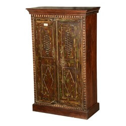 "Bombay Rustic Reclaimed Wood 48"" Hand Carved Cabinet"